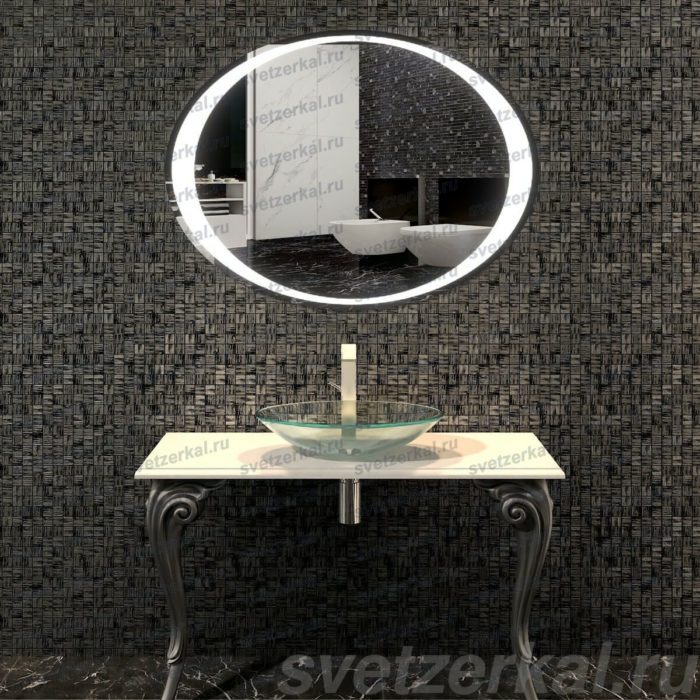 Овальное зеркало с обогревом в ванную